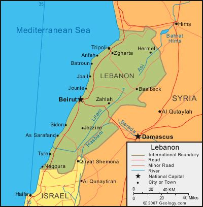 Middle East Maps, Lebanon map   World & Middle East GPS