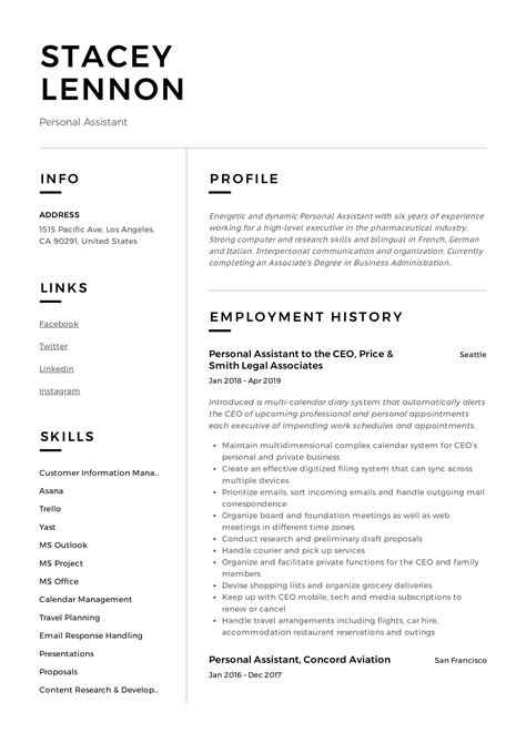 Personal Assistant Resume & Writing Guide | +12 TEMPLATES