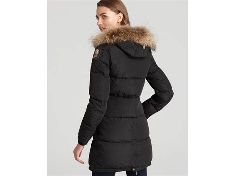 Lyst - Parajumpers Long Bear Down Coat with Fur Hood in Black