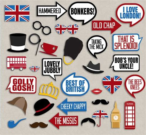 35 British Photo Booth Props, British themed party props