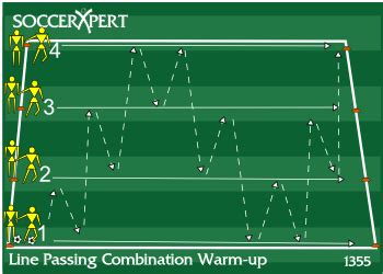 Line Passing Combination Warm-up, Passing Soccer Drill