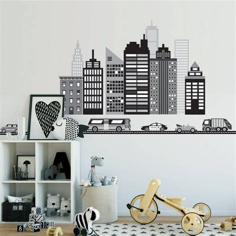 Cityscape Wall Decal, Black and White City Skyline Wall
